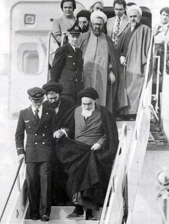 Ayatollah Khomeini arrives at Tehran airport after 14 years in exile in France, February 1, 1979.