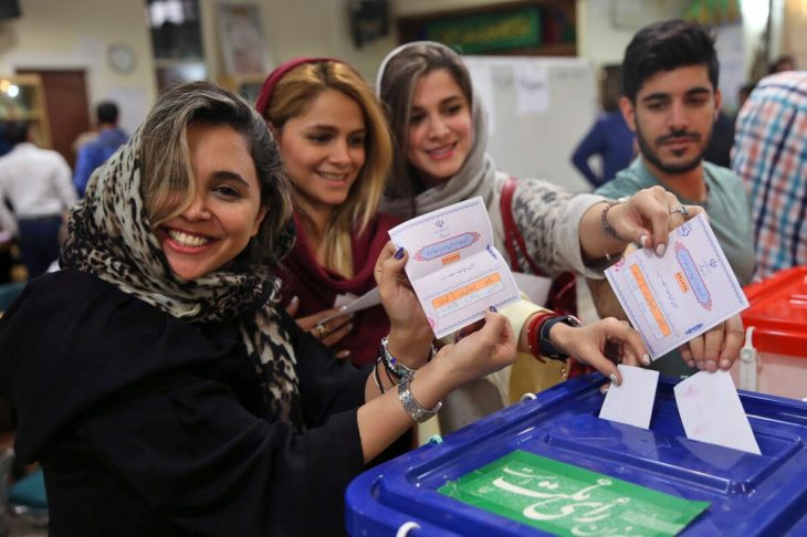 Young voters cast their vote during the Iranian presidential election in 2017, with Hassan Rouhani being re-elected with 57 percent of the vote.