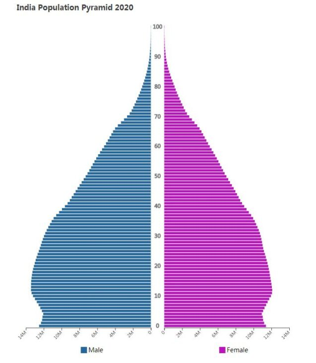 India Population Pyramid 2020