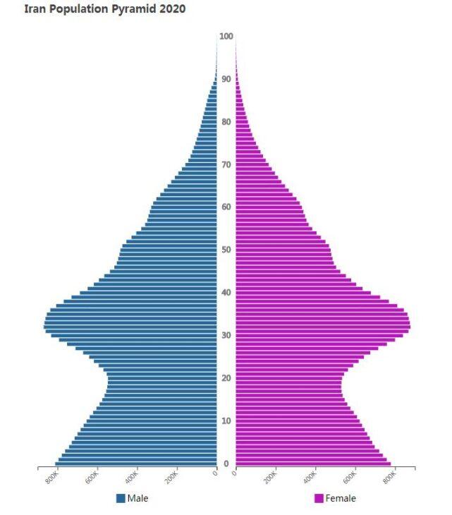 Iran Population Pyramid 2020