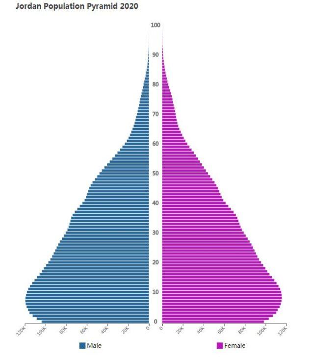 Jordan Population Pyramid 2020