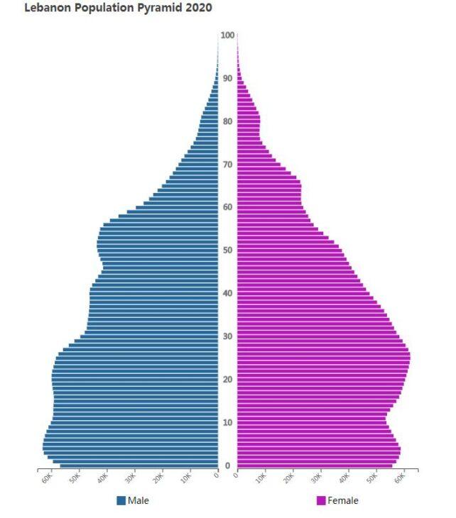 Lebanon Population Pyramid 2020