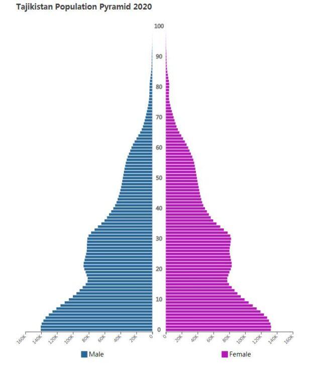 Tajikistan Population Pyramid 2020