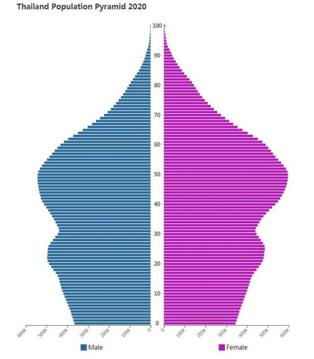 Thailand Population Pyramid 2020