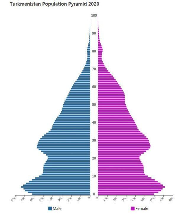 Turkmenistan Population Pyramid 2020