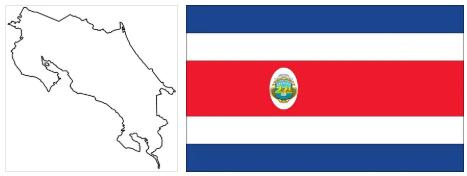 Costa Rica Flag and Map