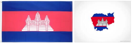 Cambodia Flag and Map 2