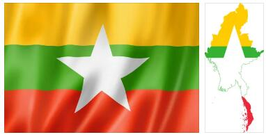 Myanmar Flag and Map