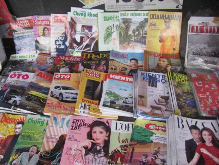 Newspaper stand in Hanoi